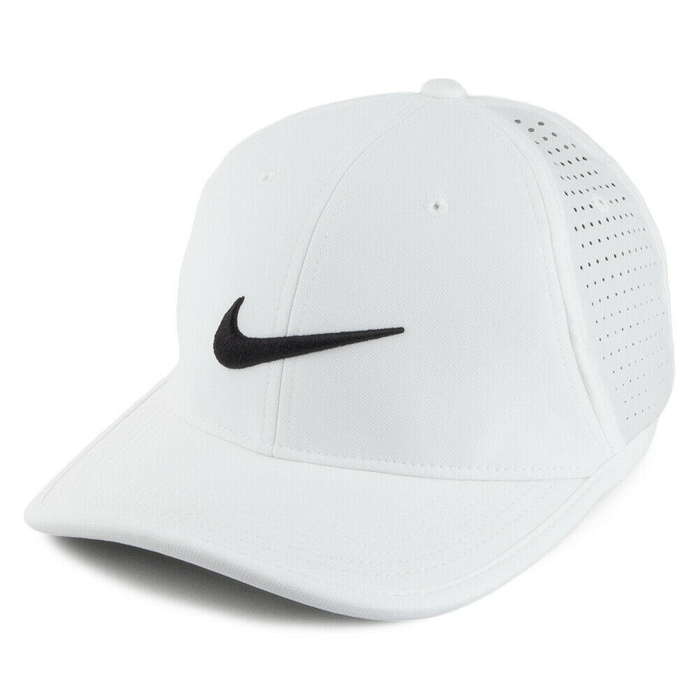 NEW! Nike Mens Golf Ultralight Perforated Adjustable Hat-White/Black 7270374-100