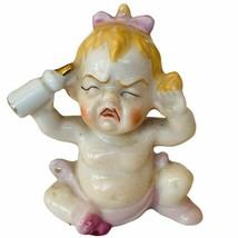 Antique Porcelain Figurine vtg gift decor sculpture Japan baby screaming... - $28.98