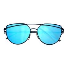 Emblem Eyewear - Women's Modern Retro Flat Reflective Lens Sunglasses - £6.45 GBP