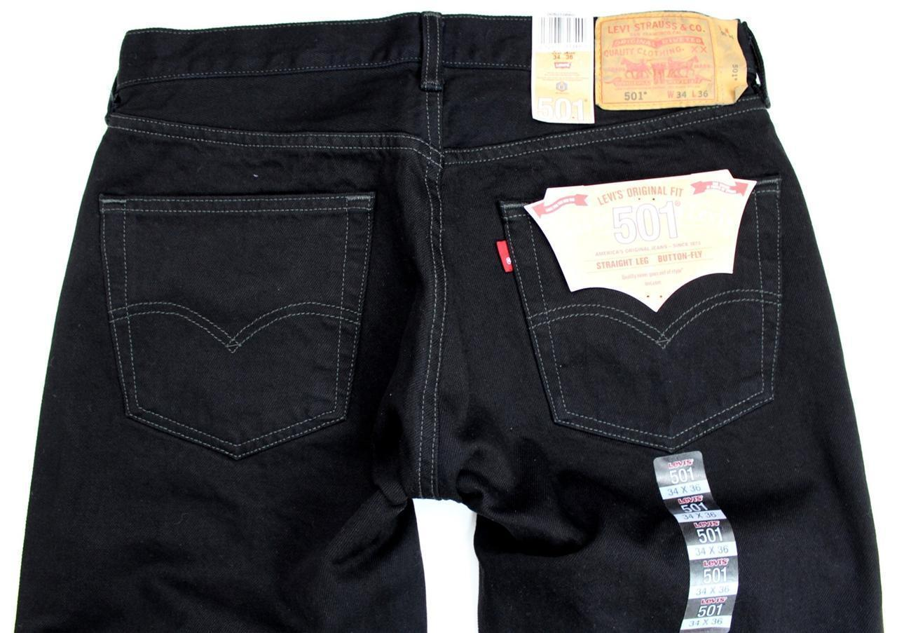 NEW LEVI'S 501 MEN'S ORIGINAL FIT STRAIGHT LEG JEANS BUTTON FLY BLACK 501-0660