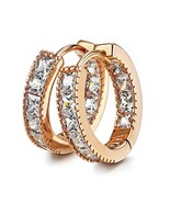 Kainier CZ Hoop Earrings with Cushion Cut Cubic Zirconia 14K Rose Gold P... - $14.24