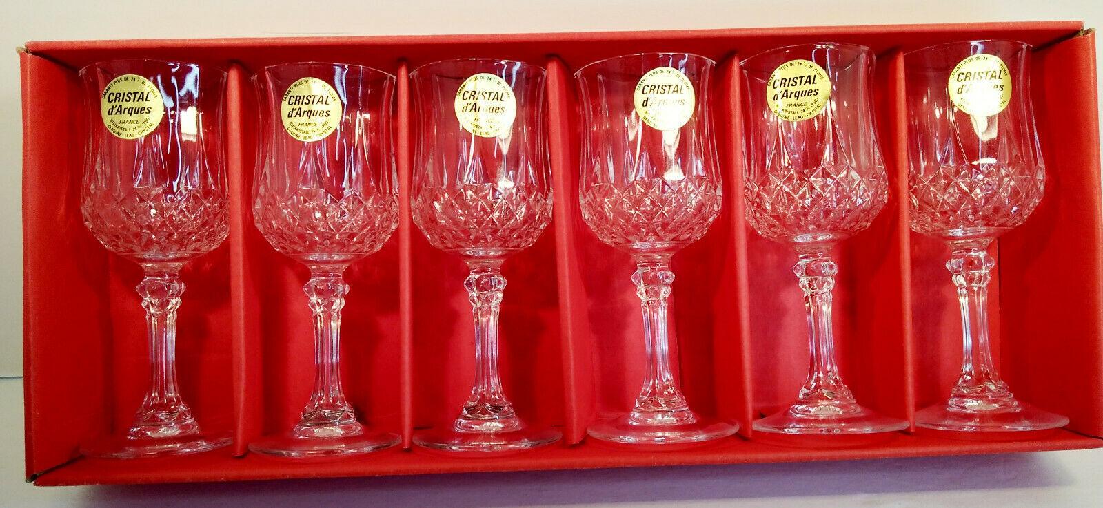 6 Longchamp 6cl 24% Lead Crystal Stemglasses Cristal d'Arques - $37.36