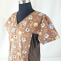 Baby LOONEY TUNES Scrub Top Shirt Brown with Pattern Size Medium  - $12.60