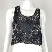Forever 21 Juniors Medium  Black Sequin Beaded Crop Top Sleeveless NWT - $13.09