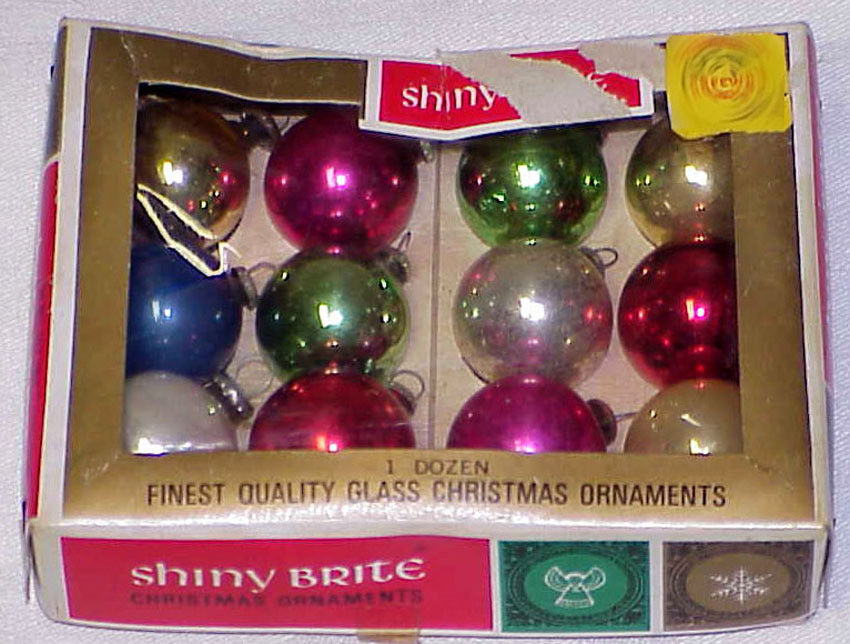 "Primary image for Vintage 3/4"" Mini Glass Japan Christmas Ornaments IOB # 29"