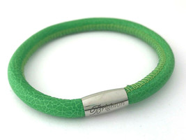 Brighton Woodstock Kelly Green Leather Bracelet, Size S, New - $37.99
