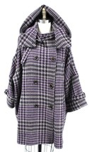 Tsumori Chisato Womens Car Coat Purple Gray Herringbone Tweed Hoodie O/S... - $299.00