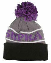 Supra Black Purple Grey Knit Pom Pom Winter Skate Fold over Beanie NWT image 3