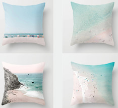 "Beach Ocean Pillow cover, 4 piece set, 18×18"",Square cushion pillowcase,... - $31.99"
