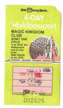 1986 Magic Kingdom Club Walt Disney World 4 day worldpassport Used Child... - $42.08