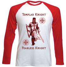 Templar Knight Fearless Knight - New Red Long Sleeves Cotton Tshirt - $26.93