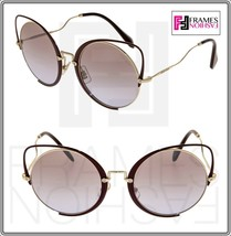 MIU MIU CROISIERE SQENIQUE Brown Gold 51T Mirror FLAT Oversized Sunglass... - $234.63
