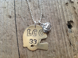 Football Mom/Girlfriend Helmet Sports Necklace Football Jewelry - $22.00
