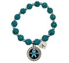 Custom Lymphedema Awareness Blue Bling Bracelet Jewelry Choose Initial Family - $13.80+