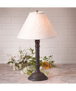 TABLE LAMP & IVORY FABRIC SHADE Distressed Black over Red Crackle Finish... - $186.45