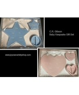 Baby Keepsake Gift Set C.R. Gibson Ceramic First Tooth Curl Pink or Blue - $11.99