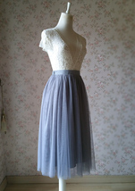 GRAY Tulle Midi Skirt High Waisted Bridesmaid Tulle Skirt Plus Size Gray Wedding image 5