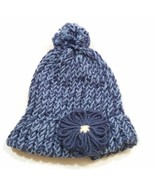 Girls High Bun Wool Knitted Handmade Cap Skull Beanie Winter Hat W/Flowe... - $14.18