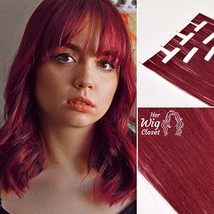 Burgundy Red Tape In Remy Human Hair Extensions Straight Double Drawn Seamless S - $55.00