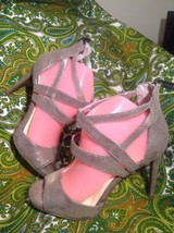 WOMEN'S JESSICA SIMPSON MARIANI 8.5M STRAPPY SANDALS HEELS SLATE DUSTY M... - $29.69