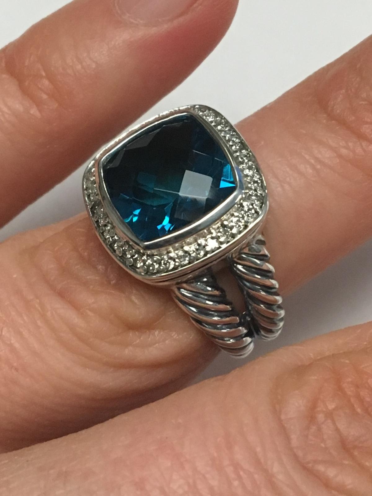 Pre Owned David Yurman 11mmx11mm Albion Hampton Topaz and Diamond Ring Size 6