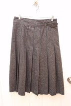 GAP Size 8 Micro plaid Pleated WOOL MIDI SKIRT Buckle Detail Black Gray  - $19.77