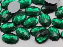 40x30mm Emerald H106 Flat Back Oval Acrylic Jewels High Quality Pro Grad... - $4.82