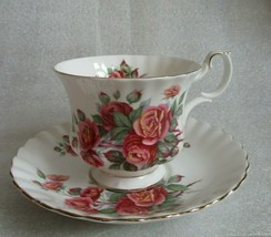 Vintage ROYAL ALBERT Tea Cup Saucer CENTENNIAL ROSE Montrose Shape Gold ... - $19.75