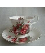 Vintage ROYAL ALBERT Tea Cup Saucer CENTENNIAL ROSE Montrose Shape Gold ... - $19.75