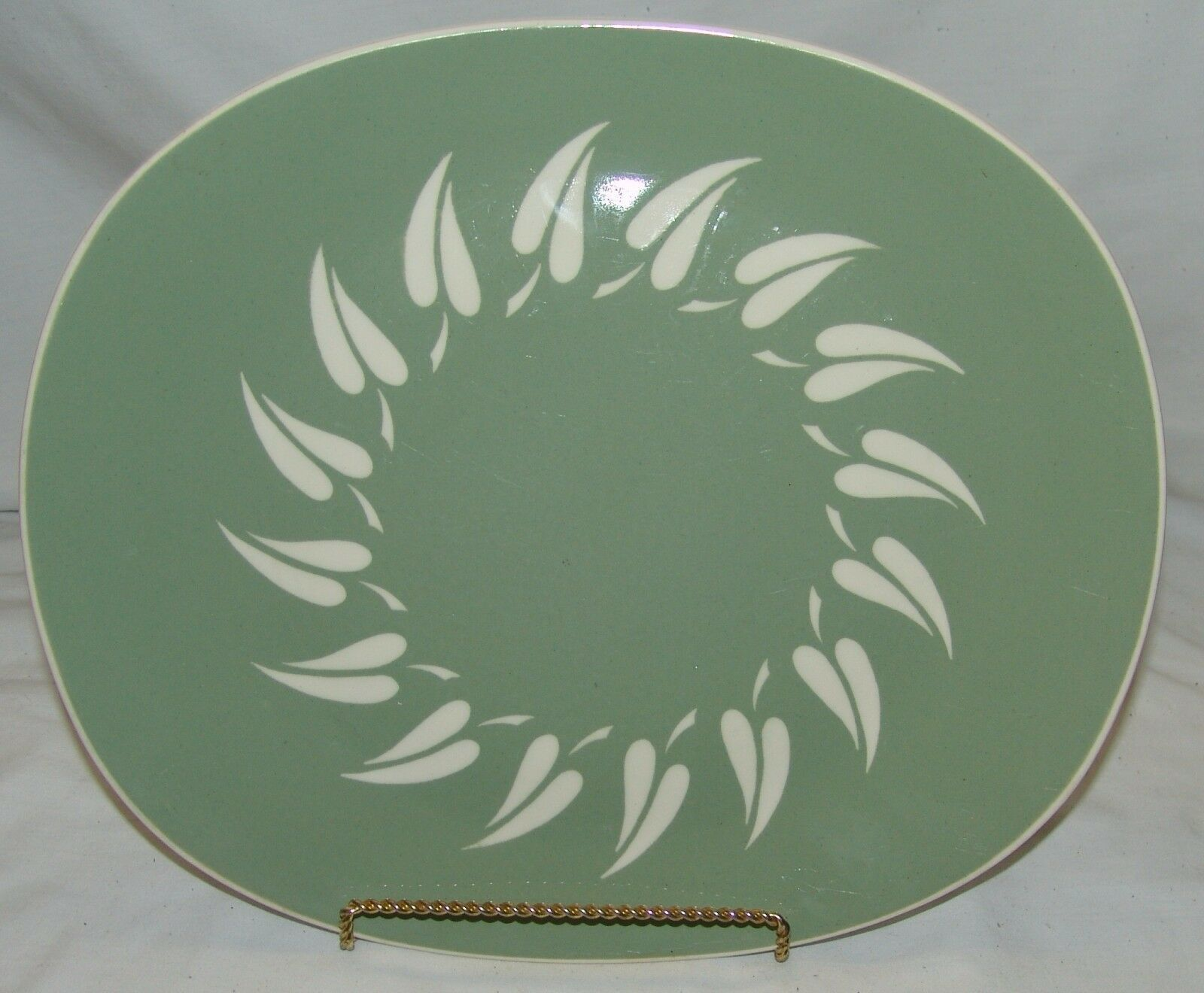 Primary image for Harkerware Oven Proof Pottery Platter Vtg Oval Sage Sunburst MCM Mid Century