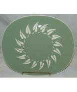 Harkerware Oven Proof Pottery Platter Vtg Oval Sage Sunburst MCM Mid Cen... - $35.62