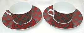 Tartan Plaid Red Sasaki Charles Roberts Japan Cup & Saucer Tea Coffee Pa... - $39.59