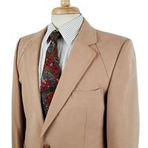 Vintage Bill Tabor Rockford IL Mens Faux Suede Sport Coat Blazer 41R Tan... - $48.99