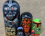 Star wars gift Darth Vader, Darth Maul Gifts dolls, set of 5 wooden handmade dol - £43.14 GBP