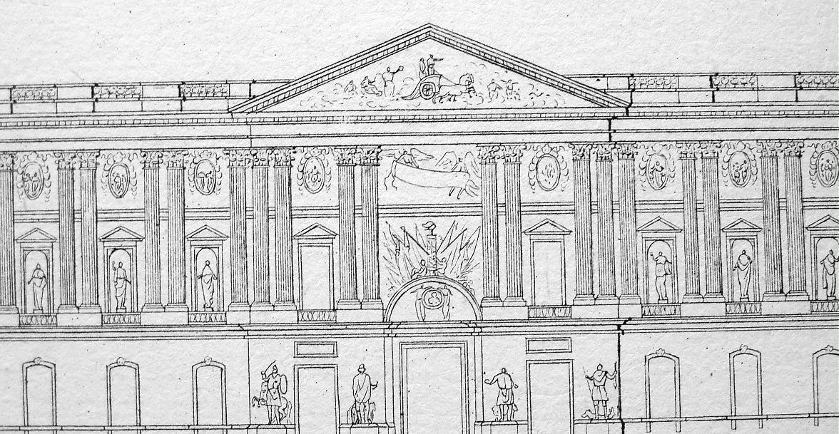 ARCHITECTURE Baroque Stockholm Royal Palace Louvre Madrid - 1825 Antique Print