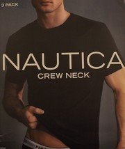 3 NAUTICA MENS 100% COTTON BLACK CREW-NECK T-SHIRTS UNDERSHIRTS S M L XL... - $36.00