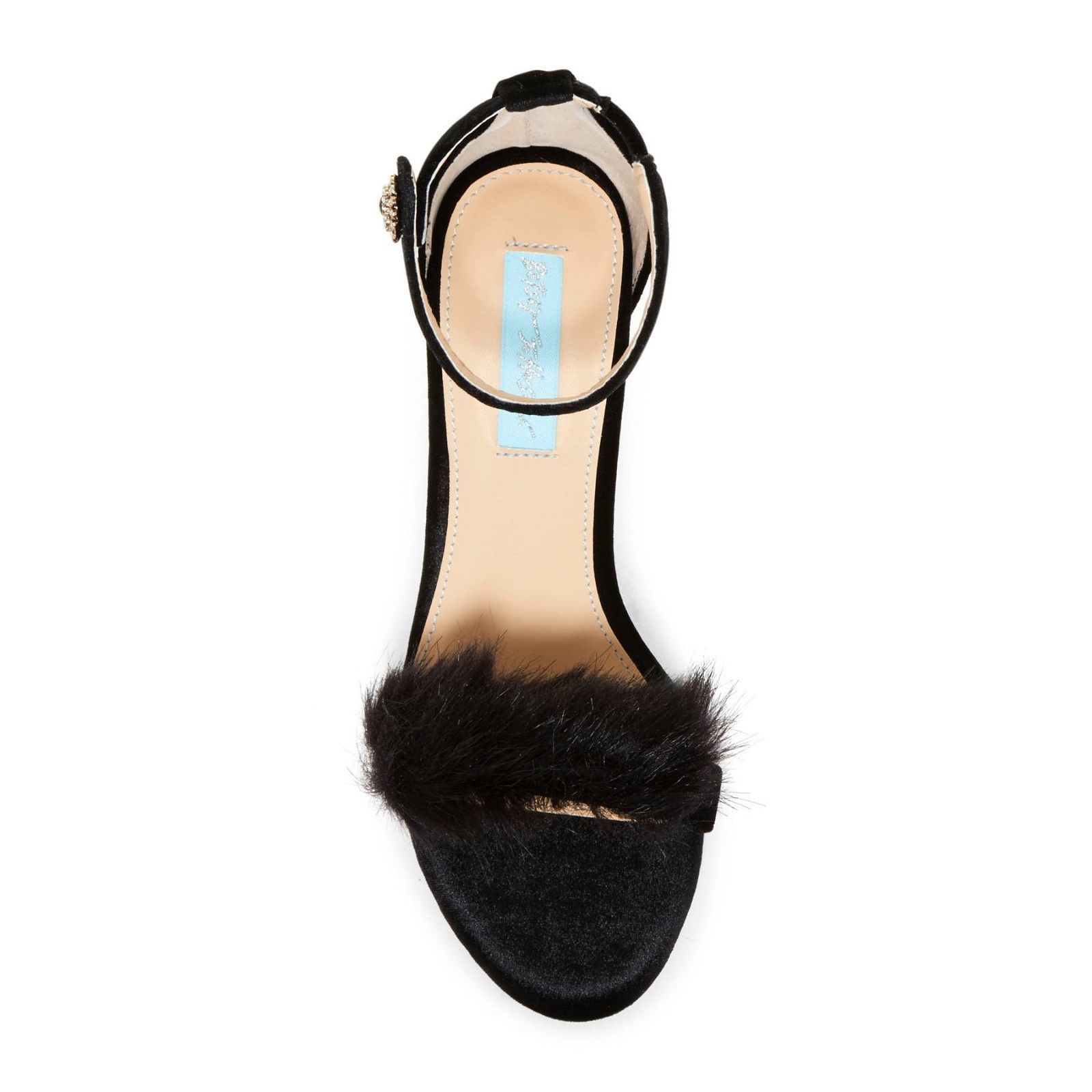 Betsey Johnson Crystal Nolte Black Velvet Faux Fur High Heel Pumps 8.5 NIB