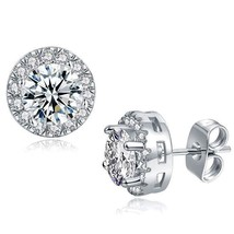 Fashion Jewelry 18k White Gold Plated Cubic Zirconia Halo Stud Earrings - $9.79