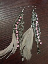 Pink Feather And Gem Sliver Bengal Earring - $6.99