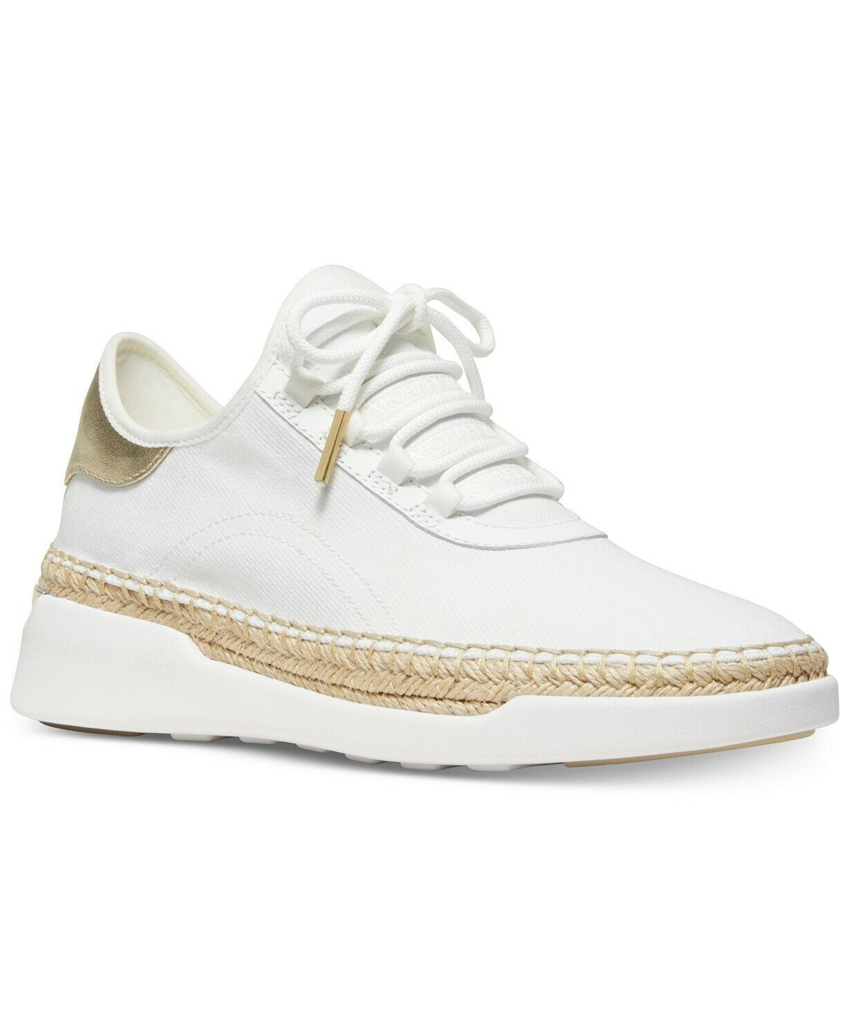 Michael Kors MK Women's Finch Lace Up Espadrille Canvas Sneakers Shoes Pale Gold