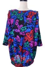 Shirley K 80's Colorful Animal Print Blouse Oversize 5 6 Small Medium - $21.00
