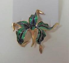 Vintage Green & Blue Enamel Lily Pin Brooch - $14.84
