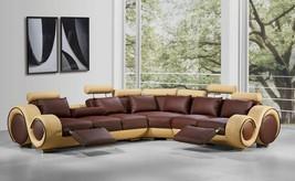 VIG Divani Casa 4087 Brown Beige Bonded Leather Sectional Sofa