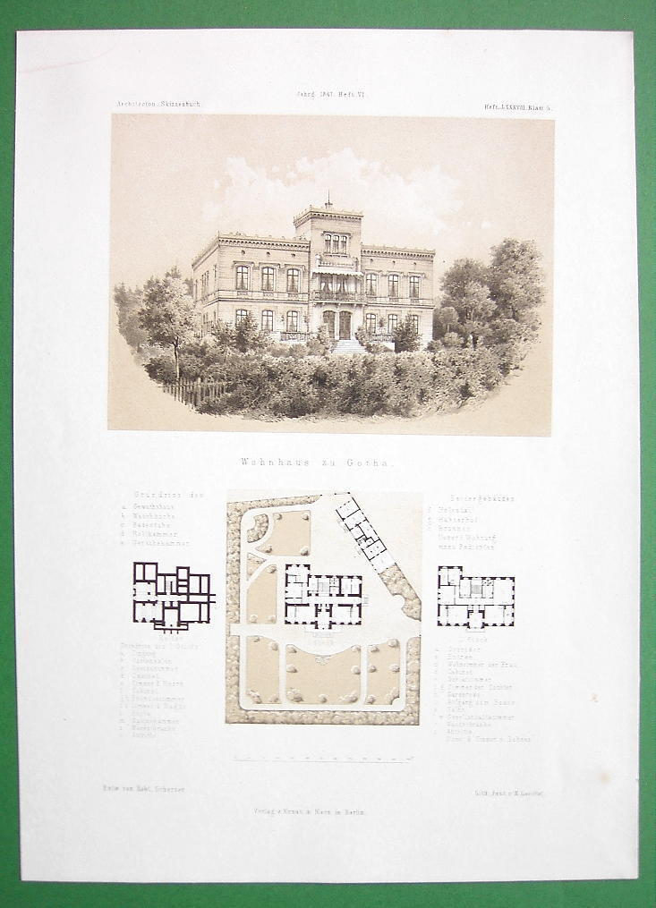 ARCHITECTURE PRINT : Germany Apartment Building at Gotha View & Plans