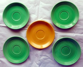Vintage Fiesta Saucers - 4 in Light Green and one in Yellow. (Teacup saucers) - $17.95