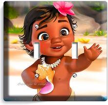 Baby Moana Cute Hawaiian Little Girl Light Double Switch Wall Cover Room Decor - $9.69