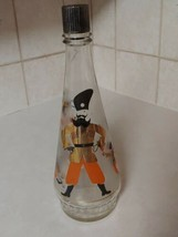Owens Illinois Frosted Glass Liquor Bottle w Russian Themed Characters - $14.50