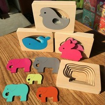 Kids Wooden Educational Toys Game Children Animal Carton 3D Puzzle Early Learn
