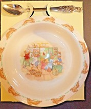 Royal Doulton Bunnykins Nursery Set Two Piece Baby Plate and Spoon New - $29.03