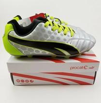PUMA Procat Soccer Equalizer Cleats Youth Kids Silver Green Sz 12 - $22.23